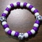 "Acrylic Purple & White Soccer Sport Stretch Bracelet 7"" U.S.A."