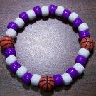 "Acrylic Purple & White Basketball Sport Stretch Bracelet 7"""