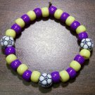 "Acrylic Purple & Yellow Soccer Sport Stretch Bracelet 7"" U.S.A."