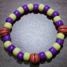 Acrylic Purple & Yellow Basketball Sport Stretch Bracelet 7""