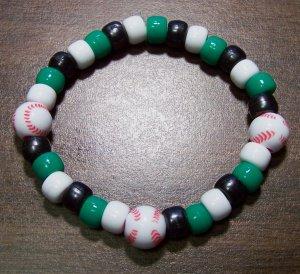 "Acrylic Black, Green & White Baseball Sport Stretch Bracelet 7"""