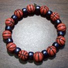 "Acrylic Black Basketball Sports Stretch Bracelet 7"" U.S.A."