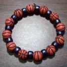"Acrylic Black Basketball Sports Stretch Bracelet 7"" U.S.A."