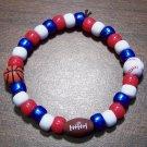 "Acrylic Red, White & Blue Sports Stretch Bracelet 7"" U.S.A."