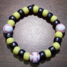 "Acrylic Black & Yellow Baseball Sport Stretch Bracelet 6.5"""