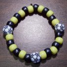 "Acrylic Black & Yellow Soccer Sport Stretch Bracelet 6.5"" U.S.A."