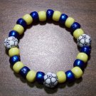 "Acrylic Blue & Yellow Soccer Sport Stretch Bracelet 6.5"" U.S.A."