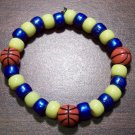 Acrylic Blue & Yellow Basketball Sport Stretch Bracelet 6.5""