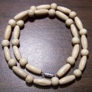 """Tribal White Wood Necklace 18"""" Made in the U.S.A."""