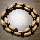"Tribal Black & Tan Wood Necklace 18"" Made in the U.S.A."