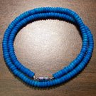 "Tribal Blue Camel Bone Necklace 18"" Made in the U.S.A."