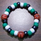 Acrylic Black, Green & White Basketball Stretch Bracelet 6.5""