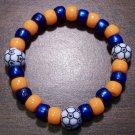 "Acrylic Blue & Orange Soccer Sport Stretch Bracelet 6.5"" U.S.A."