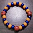 Acrylic Blue & Orange Basketball Sport Stretch Bracelet 6.5""