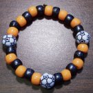 "Acrylic Black & Orange Soccer Sport Stretch Bracelet 6.5"" U.S.A."