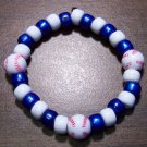 "Acrylic Blue & White Baseball Sport Stretch Bracelet 6.5"" U.S.A."