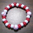 "Acrylic Red & White Baseball Sport Stretch Bracelet 6.5"" U.S.A."