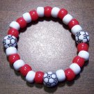 Acrylic Red & White Soccer Ball Sport Stretch Bracelet 6.5""