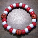 Acrylic Red & White Basketball Sport Stretch Bracelet 6.5""