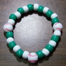 Acrylic Green & White Baseball Sport Stretch Bracelet 6.5""