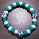 Acrylic Green & White Soccer Ball Sport Stretch Bracelet 6.5""