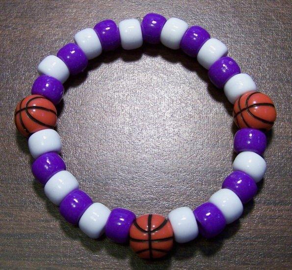 "Acrylic Purple & White Basketball Sport Stretch Bracelet 6.5"""