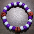 Acrylic Purple & White Basketball Sport Stretch Bracelet 6.5""