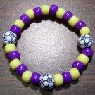"Acrylic Purple & Yellow Soccer Ball Sport Stretch Bracelet 6.5"""