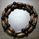 "Tribal Dark Tan & Black Wood Necklace 16"" Made in the U.S.A."