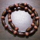 "Tribal Dark Tan & Tan Wood Necklace 16"" Made in the U.S.A."