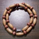 "Tribal Tan Wood Necklace 16"" Made in the U.S.A."