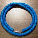 "Tribal Blue Camel Bone Necklace 16"" Made in the U.S.A."
