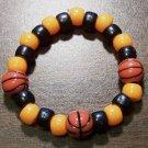 "Acrylic Black & Orange Basketball Sport Stretch Bracelet 5.5"""