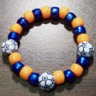 Acrylic Blue & Orange Soccer Ball Sport Stretch Bracelet 5.5""
