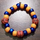 Acrylic Blue & Orange Basketball Sport Stretch Bracelet 5.5""