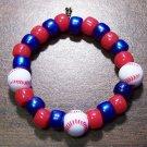 "Acrylic Blue & Red Baseball Sport Stretch Bracelet 5.5"" U.S.A."