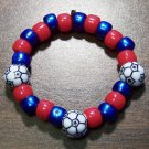 "Acrylic Blue & Red Soccer Ball Sport Stretch Bracelet 5.5"" U.S.A."