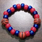 "Acrylic Blue & Red Basketball Sport Stretch Bracelet 5.5"" U.S.A."