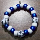 Acrylic Blue & White Soccer Ball Sport Stretch Bracelet 5.5""