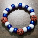 Acrylic Blue & White Basketball Sport Stretch Bracelet 5.5""