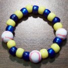 "Acrylic Blue & Yellow Baseball Sport Stretch Bracelet 5.5"" U.S.A."