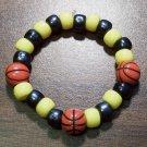 "Acrylic Black & Yellow Basketball Sport Stretch Bracelet 5.5"""