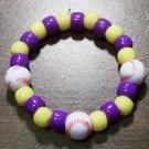 "Acrylic Purple & Yellow Baseball Sport Stretch Bracelet 5.5"""