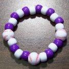 "Acrylic Purple & White Baseball Sport Stretch Bracelet 5.5"""