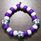 Acrylic Purple & White Soccer Ball Sport Stretch Bracelet 5.5""