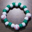 "Acrylic Green & White Baseball Sport Stretch Bracelet 5.5"""