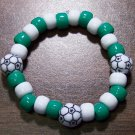 Acrylic Green & White Soccer Ball Sport Stretch Bracelet 5.5""
