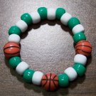 Acrylic Green & White Basketball Sport Stretch Bracelet 5.5""