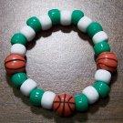 "Acrylic Green & White Basketball Sport Stretch Bracelet 5.5"""