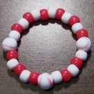 "Acrylic Red & White Baseball Sport Stretch Bracelet 5.5"" U.S.A."